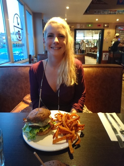 Emma and a giant burger at old favourite JDs Grill